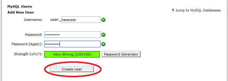 create username and password in MySQL for WordPress