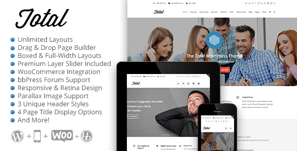 total drag and drop page builder WordPress theme smallenvelop