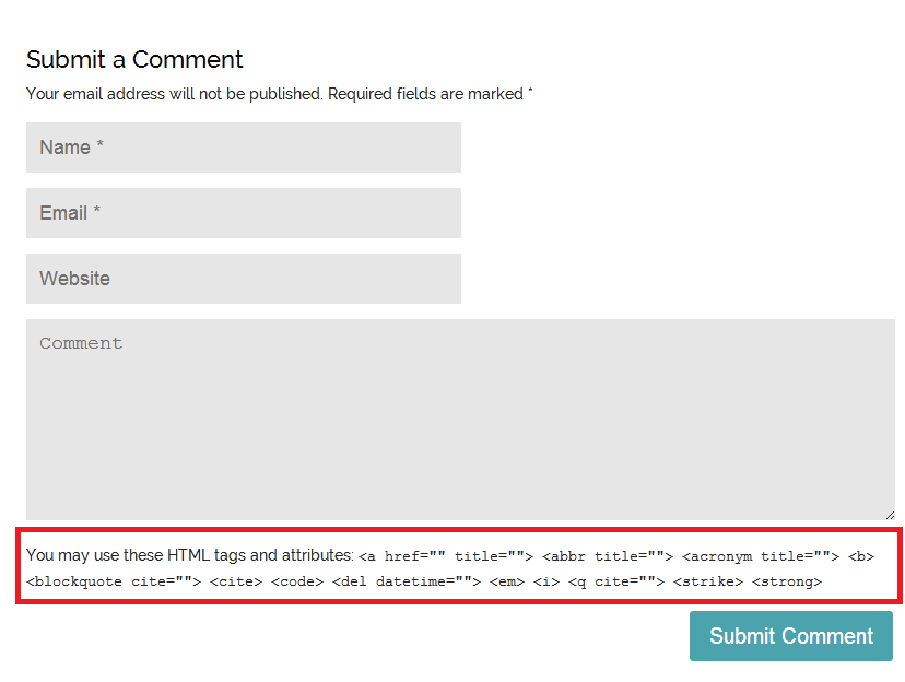 How To Remove HTML Tags Help Text From WordPress Comment Form ...