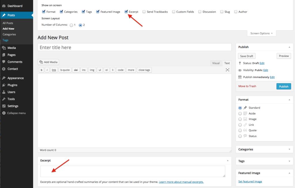 Enabling Custom Excerpts to limit post excerpt length