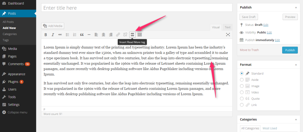 insert read more tag to limit post excerpt length