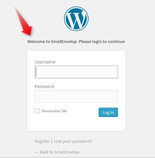 Custom wordpress login page message