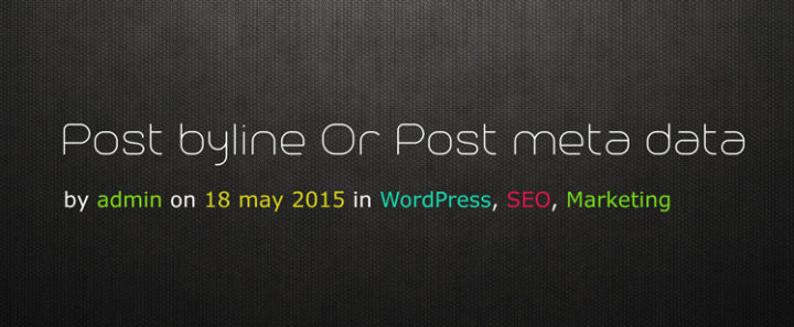 Show Post Byline (Post Author, Post Published Date, Category) or Post Meta Data With Link