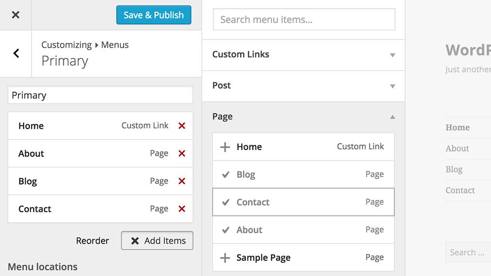 menu in customizer in wordpress 4.3