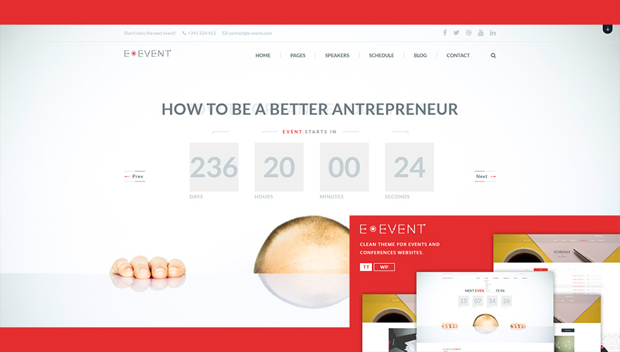 E-event-Conference-&-Event-WordPress-Theme for conference, event, workshops, summit