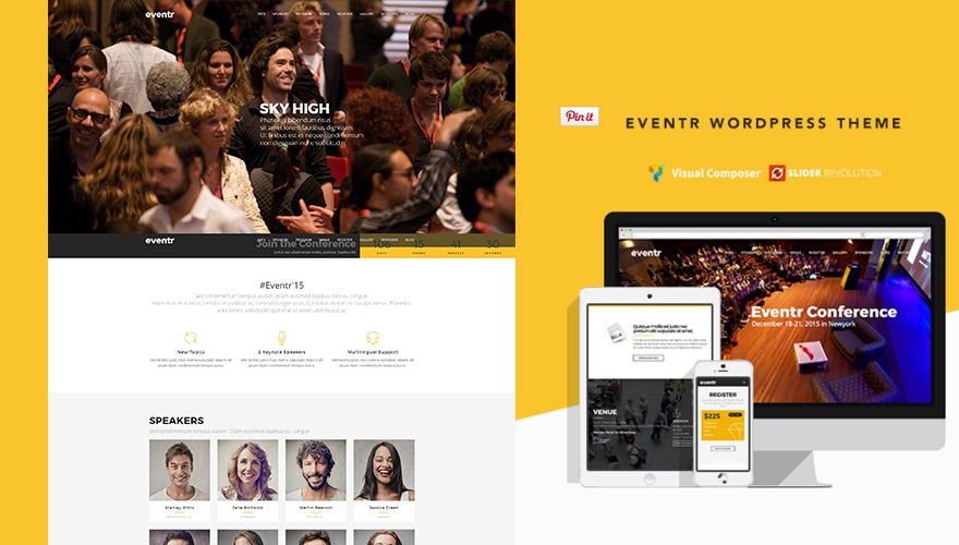 Eventr One Page-Event WordPress Theme for conference, event, workshops, summit